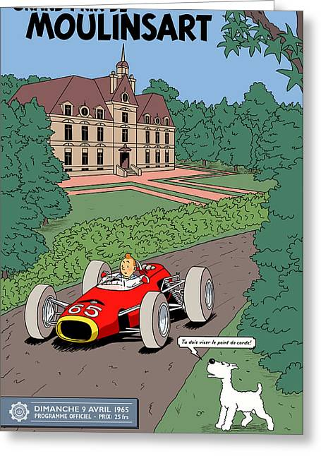 Best Sellers -  - Rally Greeting Cards - Tintin Grand Prix de Moulinsart 1965  Greeting Card by Nomad Art And  Design