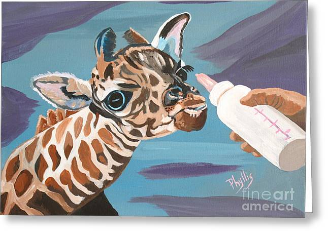 Bottle Of Milk Greeting Cards - Tiny Baby Giraffe with Bottle Greeting Card by Phyllis Kaltenbach