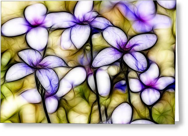 Houstonia Pusilla Greeting Cards - Tiny Bluet Wildflower Batik Greeting Card by Kathy Clark