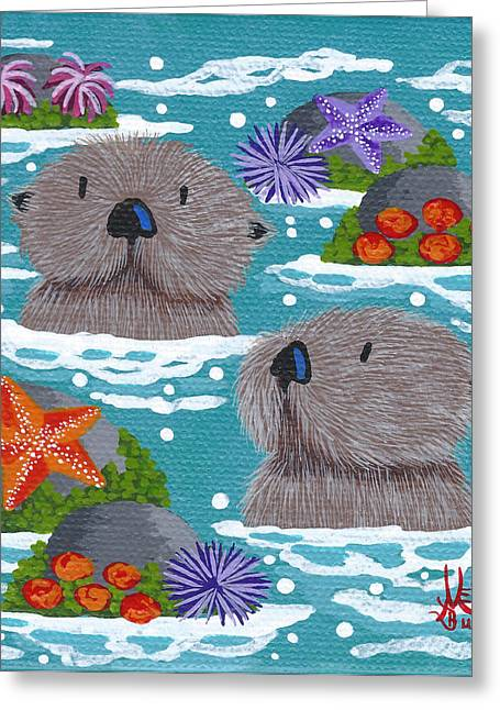 Primitive Greeting Cards - Tiny Otters VI Greeting Card by Merry  Kohn Buvia