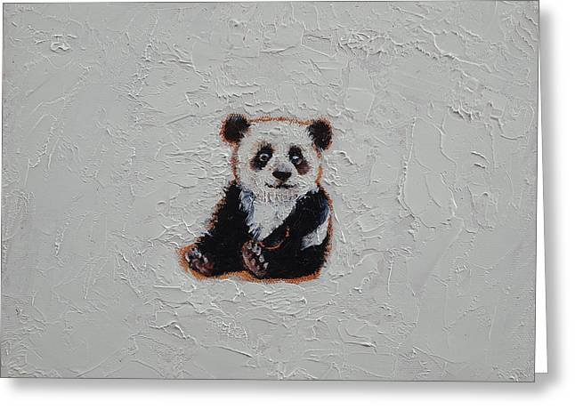 Kids Artist Greeting Cards - Tiny Panda Greeting Card by Michael Creese