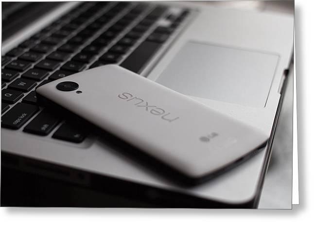 Nexus Greeting Cards - Tiny Tech Crush Greeting Card by Kyra Savolainen