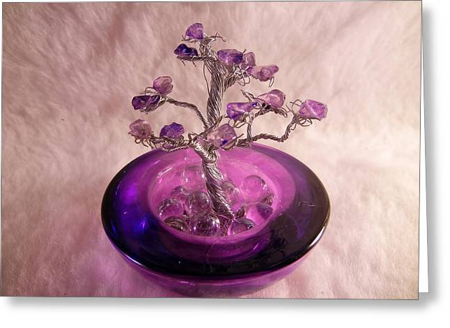 Silver Sculptures Greeting Cards - Tiny Viiolet Greeting Card by Joyce  McCormick-Mabry