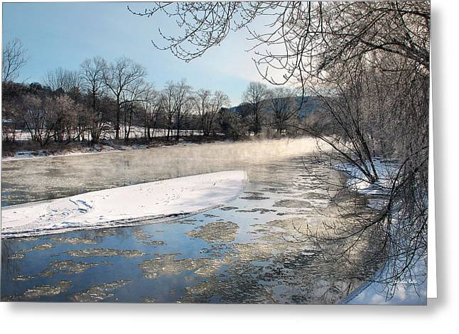 Rural Snow Scenes Greeting Cards - Tioughnioga River Mist Landscape Greeting Card by Christina Rollo
