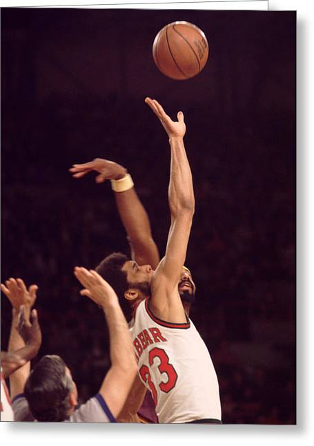 African-american Greeting Cards - Tip Off Kareem Abdul Jabbar  Greeting Card by Retro Images Archive