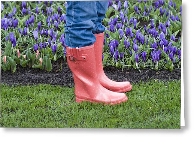 Rubber Boot Greeting Cards - Tip Toe Through The Tulips Greeting Card by Juli Scalzi