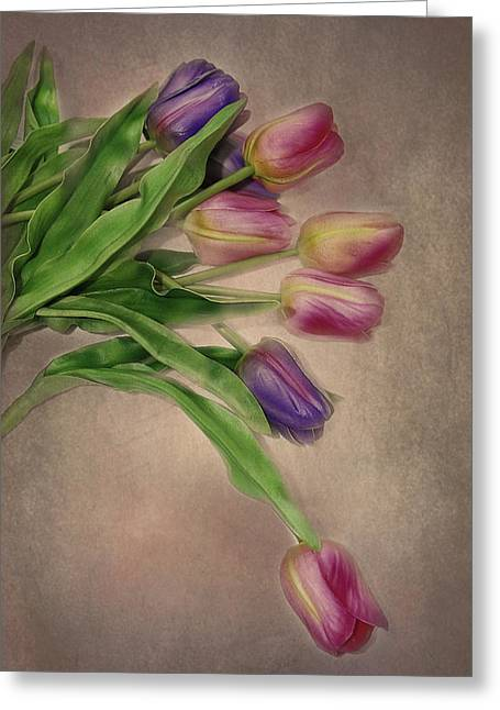 Pinks And Purple Petals Greeting Cards - Tip Toe thru the Tulips Greeting Card by Mary Timman