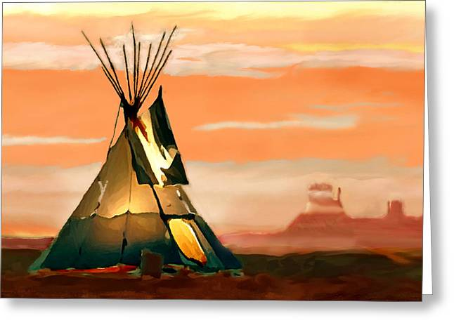 Historic Site Greeting Cards - Tipi or TePee Monument Valley Greeting Card by  Bob and Nadine Johnston