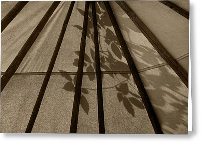 Brown Tones Greeting Cards - Tipi with Leaf Shadows - Triptych Greeting Card by Nikolyn McDonald