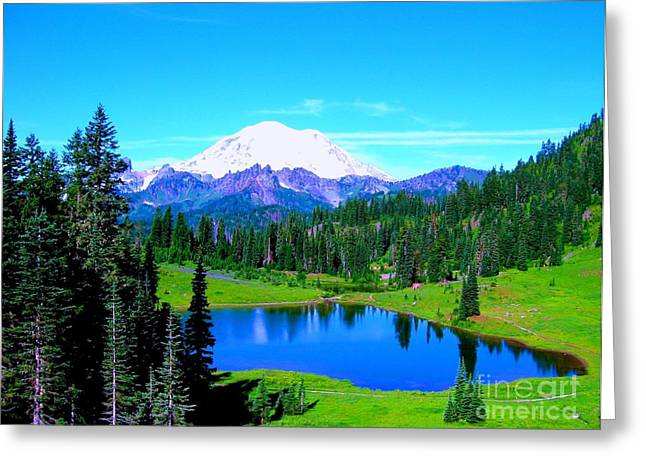 Pacific Crest Trail Greeting Cards - Tipsoo Lake Mount Rainier Greeting Card by Ann Johndro-Collins