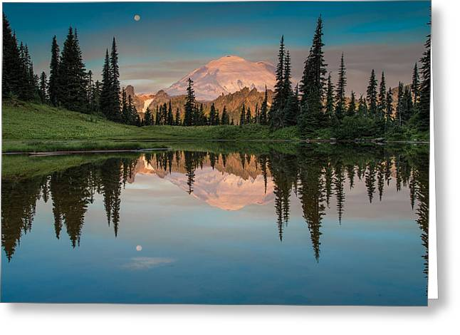 Tipsoo Lake Mt. Rainier Washington Greeting Card by Larry Marshall