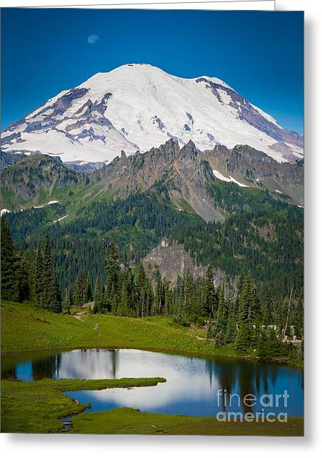 Pierce County Greeting Cards - Tipsoo Moonset Greeting Card by Inge Johnsson