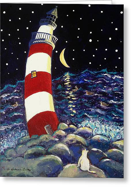 Beach At Night Greeting Cards - Tipsy Lighthouse With White Cat Greeting Card by Deborah Burow