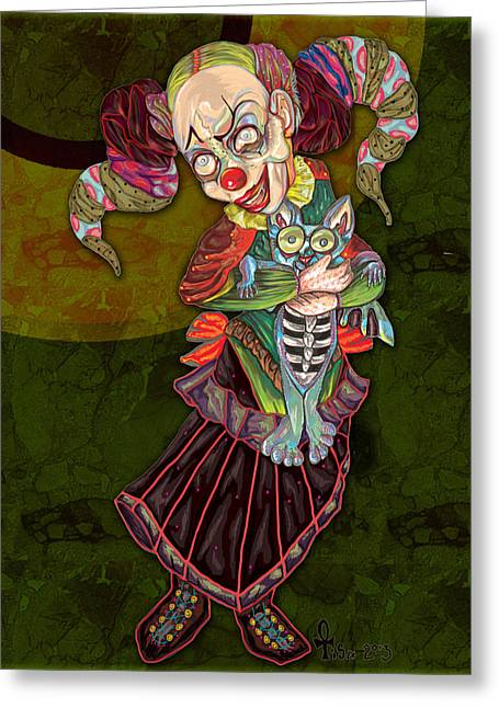 Punky Greeting Cards - Tipsy the Clown Greeting Card by Lisa Bethan