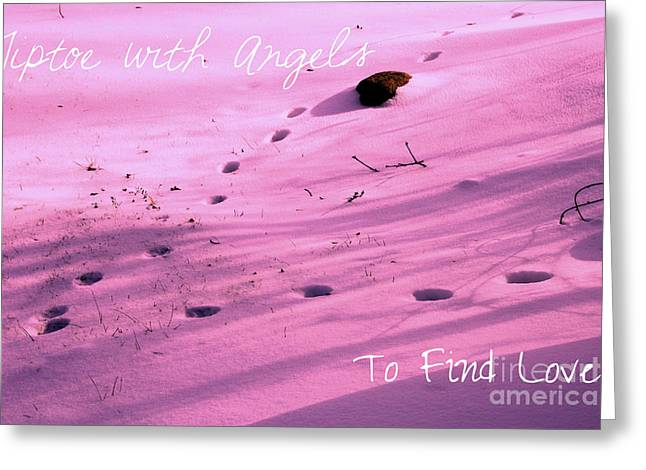 Snow Scene Mixed Media Greeting Cards - Tiptoe With Angels To Find Love Greeting Card by Mike Grubb