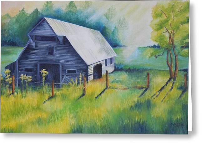 Smokey Mountains Paintings Greeting Cards - Tipton Barn Cades Cove TN Greeting Card by Golanv  Waya