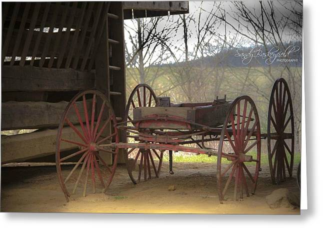 Cantilever Barn Greeting Cards - Tipton Wagon Greeting Card by Sandy Baskeyfield
