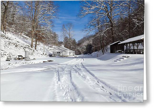 Sheds Greeting Cards - Tiptop Baptist Church in the Winter Greeting Card by Lena Auxier