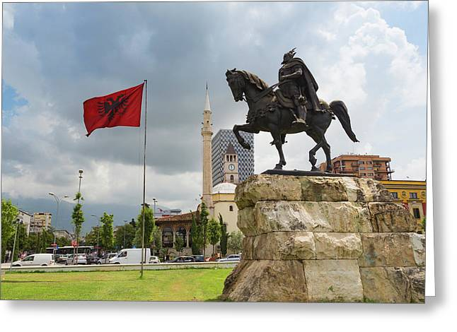 Tirana, Albania. Skanderbeg Square Greeting Card by Ken Welsh