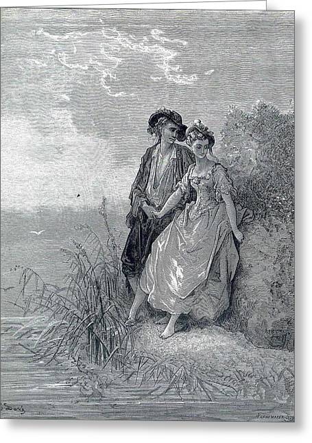 Dore Greeting Cards - Tircis and amaranth Greeting Card by Gustave Dore
