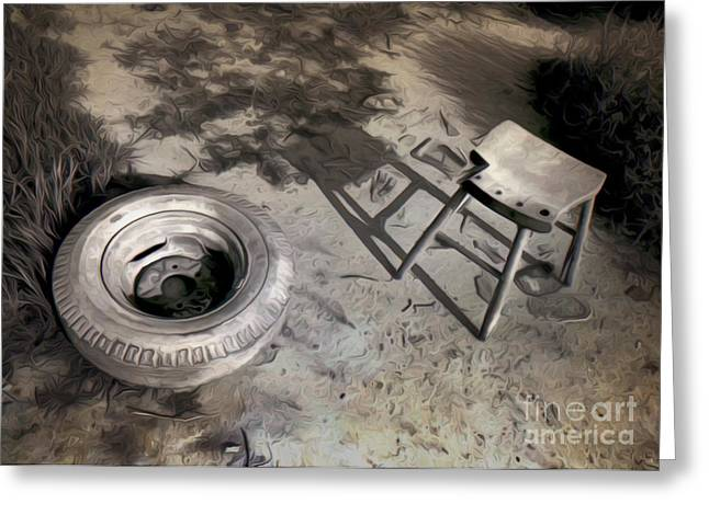 Tire And Stool Greeting Card by Gregory Dyer
