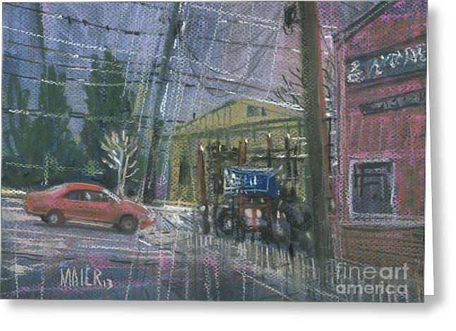 Auto Drawings Greeting Cards - Tire Center Greeting Card by Donald Maier