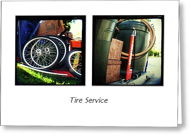 Whee Greeting Cards - Tire Service Greeting Card by James David Phenicie