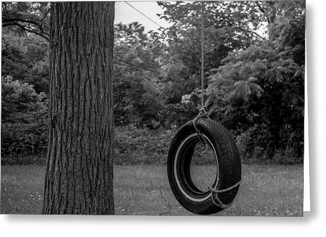 Swingset Greeting Cards - Tire Swing Greeting Card by Alex Snay