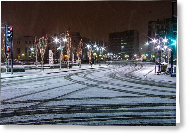 Tire Tracks In Snow Greeting Card by Marc Crumpler