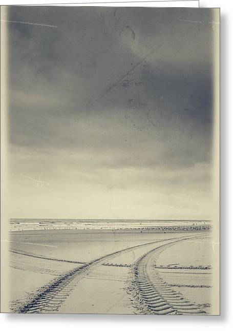 Smudged Greeting Cards - Tire Tracks On The Beach Greeting Card by Marco Oliveira