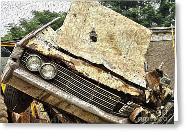 Rusted Cars Greeting Cards - Tired and Broken Greeting Card by Crystal Harman