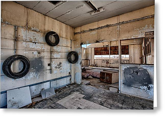 Abandoned Building Greeting Cards - Tired Building Greeting Card by Peter Tellone