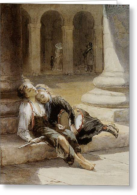 Tired Minstrels Greeting Card by Augustus Edwin Mulready
