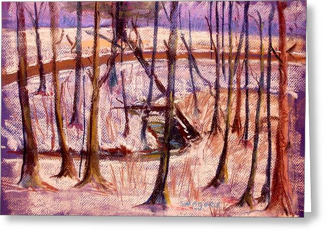 Snowed Trees Pastels Greeting Cards - Tired of snow Greeting Card by Tim  Swagerle