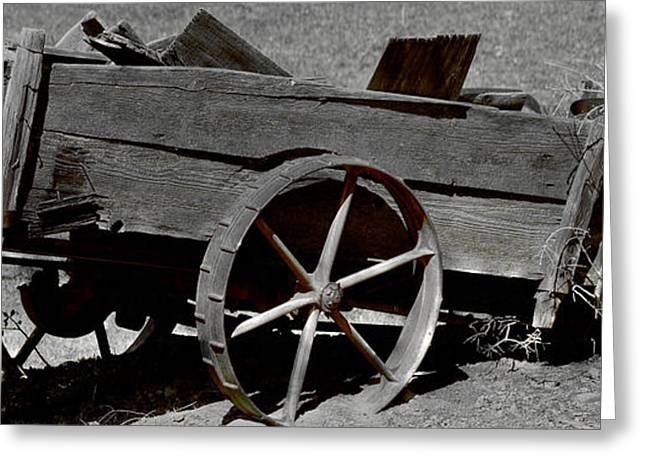 Spokes Greeting Cards - Tired Wagon Greeting Card by Cheryl Young