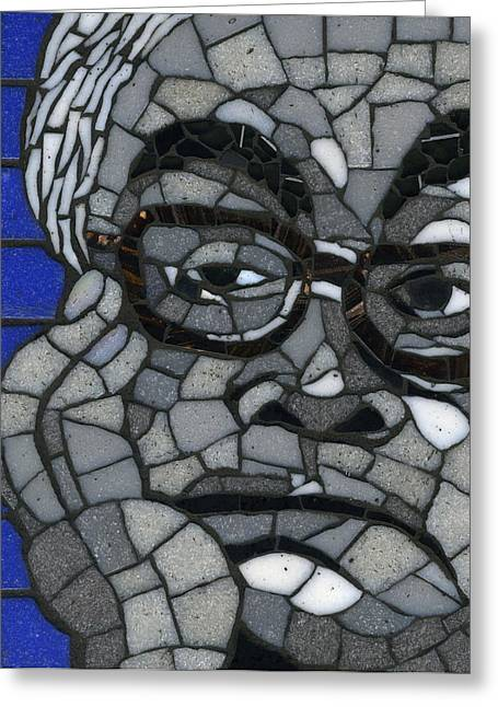 Black And White Glass Art Greeting Cards - Tireless and Tired Patriot  Greeting Card by Gila Rayberg