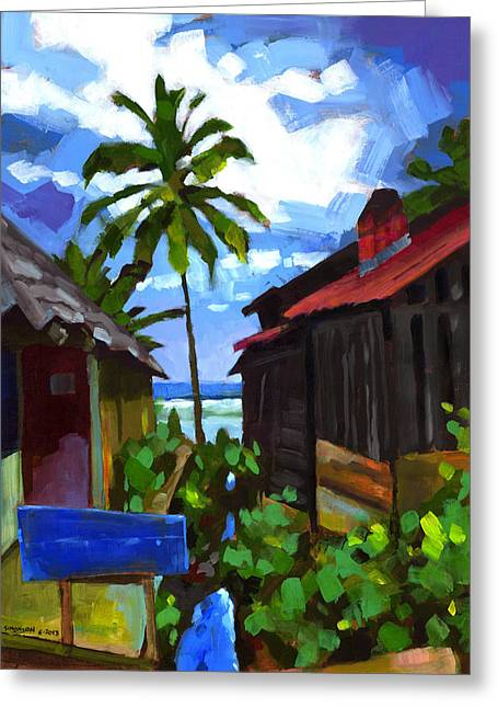 Shack Greeting Cards - Tiririca Beach Shacks Greeting Card by Douglas Simonson