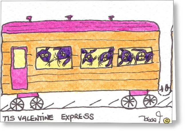 Caboose Drawings Greeting Cards - Tis Valentine Express Greeting Card by Tis Art