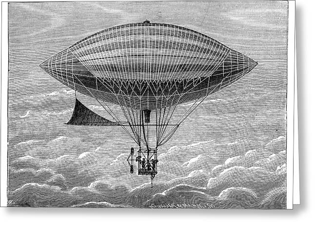 Tissandier Electric Airship Greeting Card by Science Photo Library