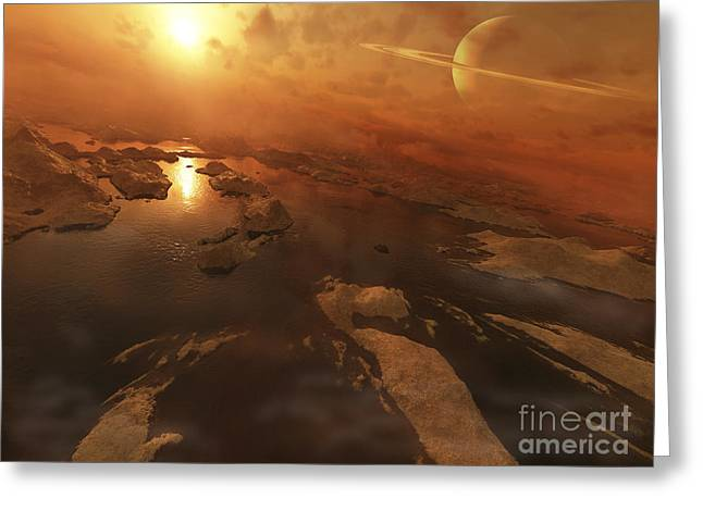 Sand Art Greeting Cards - Titan Boasts Liquid Hydrocarbon Lakes Greeting Card by Steven Hobbs