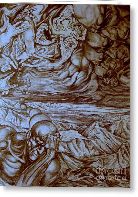 Mystic Art Drawings Greeting Cards - Titan In Desert Greeting Card by Mikhail Savchenko