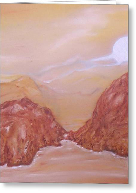 Haze Paintings Greeting Cards - Titan -Saturn VI Midnight by a Methane Lake Greeting Card by Nicla Rossini