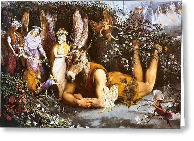 Farries Greeting Cards - Titania And Bottom Greeting Card by John Anster Fizgerald