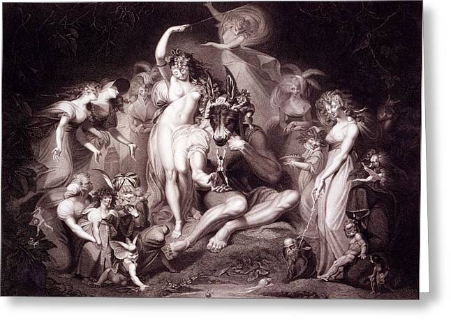 Fairies Drawings Greeting Cards - Titania, Bottom And The Fairies, Act 4 Greeting Card by Henry Fuseli
