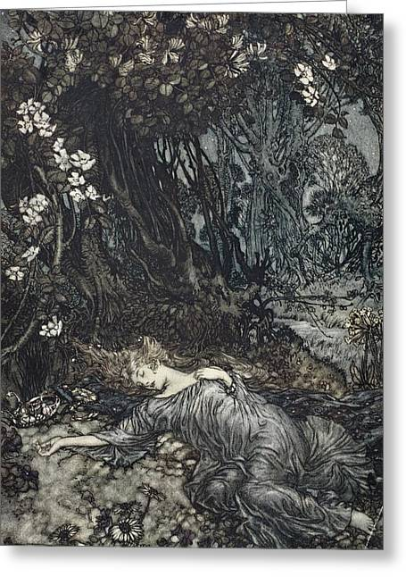 Fairies Drawings Greeting Cards - Titania Lying Asleep, Illustration Greeting Card by Arthur Rackham