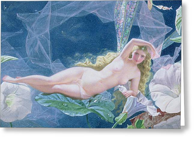 Titania Lying on a Leaf  Greeting Card by John Simmons