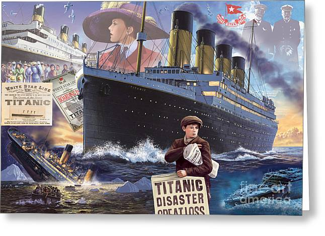 Crisp Greeting Cards - Titanic - Landscape Greeting Card by MGL Meiklejohn Graphics Licensing