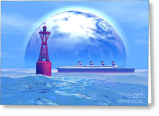 Boat Cruise Digital Greeting Cards - Titanic and Moon Greeting Card by Corey Ford