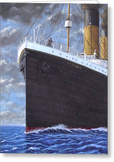 Ahead Greeting Cards - Titanic at sea full speed ahead Greeting Card by Martin Davey