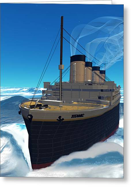 Boat Cruise Digital Greeting Cards - Titanic Cruiseship Greeting Card by Corey Ford